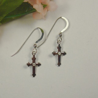 Jewelry by Dawn Sterling Silver High-polish Cross Dangle Earrings