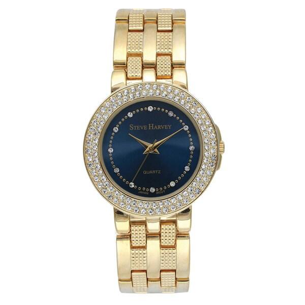 Steve Harvey Men's Blue Dial Crystal Bracelet Watch