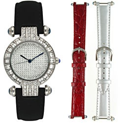 Steve Harvey Women's Silver Crystal 3-piece Watch Set