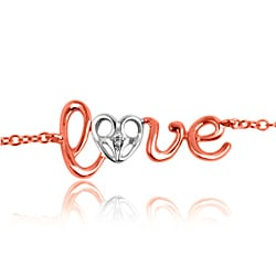 10k Rose Gold Diamond Cursive 'Love' Word Bracelet