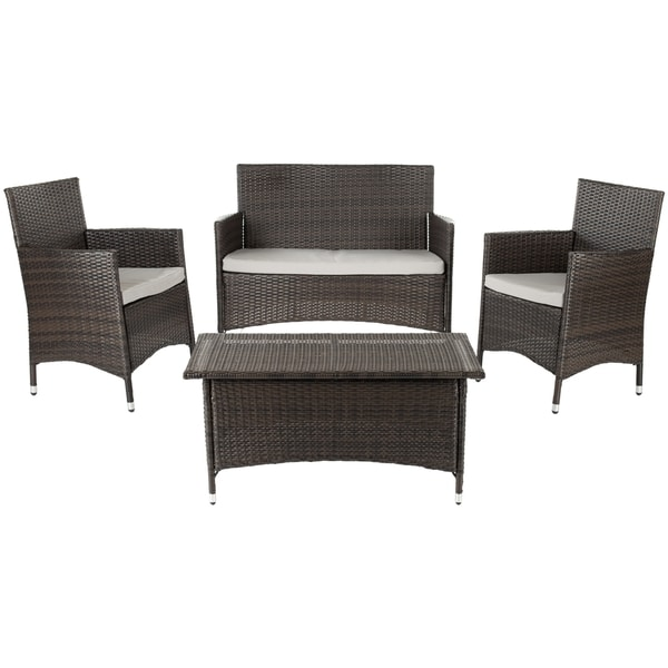 Safavieh Weather-Resistant Outdoor Living Cushioned Brown Four-Piece Patio Set