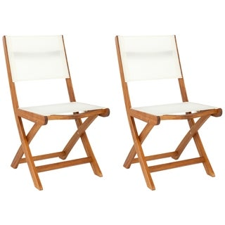 Safavieh Outdoor Living Brown Acacia Wood Folding Side Chairs (Set of 2)