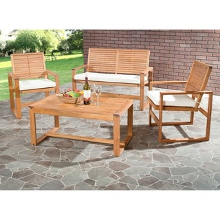 Safavieh Outdoor Living Cushioned Brown Acacia Wood 4-piece Patio Set