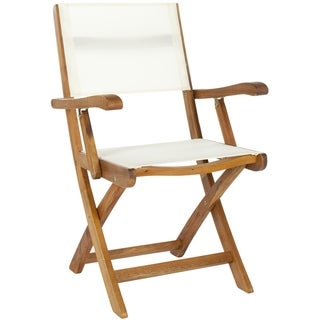 Safavieh Outdoor Living Brown Acacia Wood Folding Arm Chairs (Set of 2)