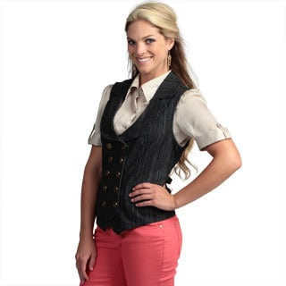 Live A Little Women's Blue Stripe Double-breasted Vest