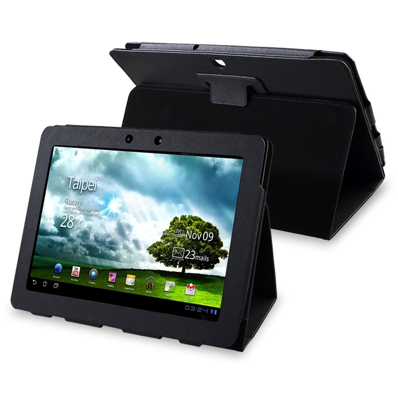 INSTEN Black Leather Phone Case Cover for Asus EEE Pad Transformer TF300T
