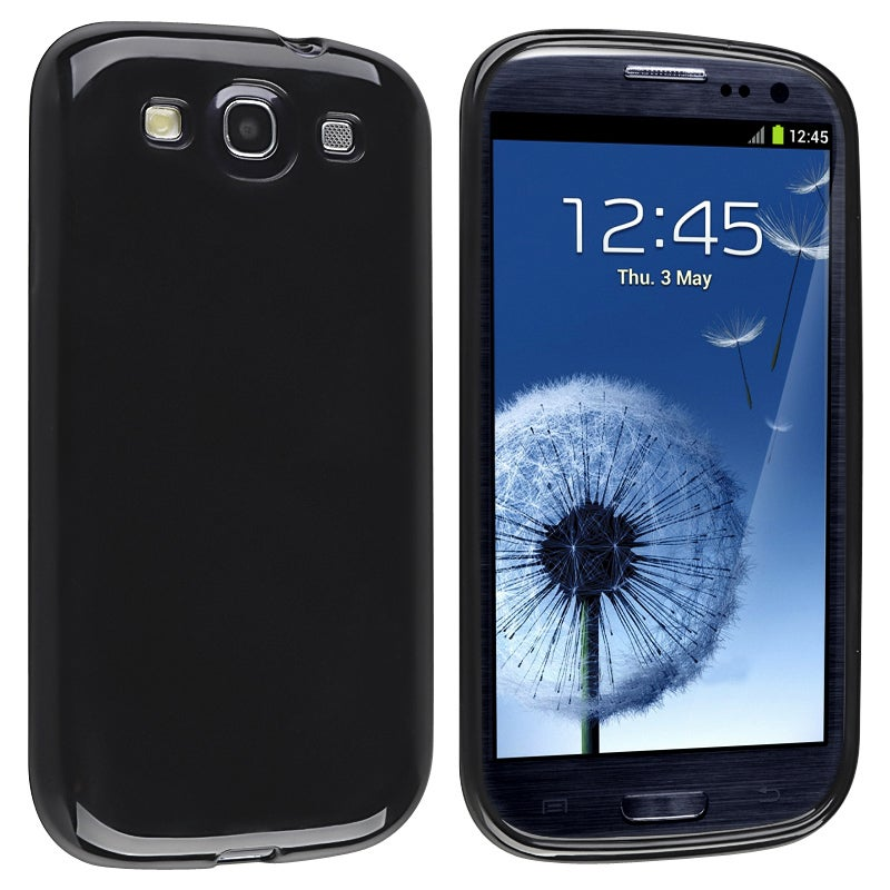 INSTEN Black Jelly TPU Rubber Skin Phone Case Cover for Samsung Galaxy S III i9300