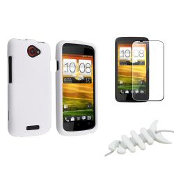 White Rubber Case/ Screen Protector/ Wrap for HTC One X