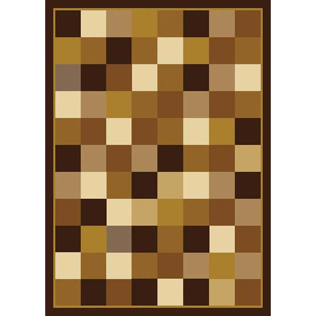 "Contemporary Brown Casual Heat-Set Rug (7'8"" x 10'4"")"