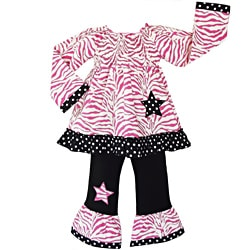AnnLoren Pink Zebra and Stars Two-piece 100-percent Cotton Outfit