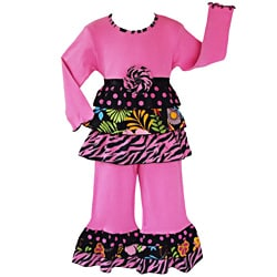 AnnLoren Girls 2 piece Wild Hot Pink Safari Rumba Outfit