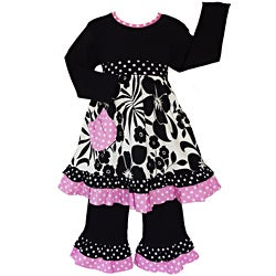 AnnLoren 2 piece Girls Black and White Floral and Pink Polka dots Outfit