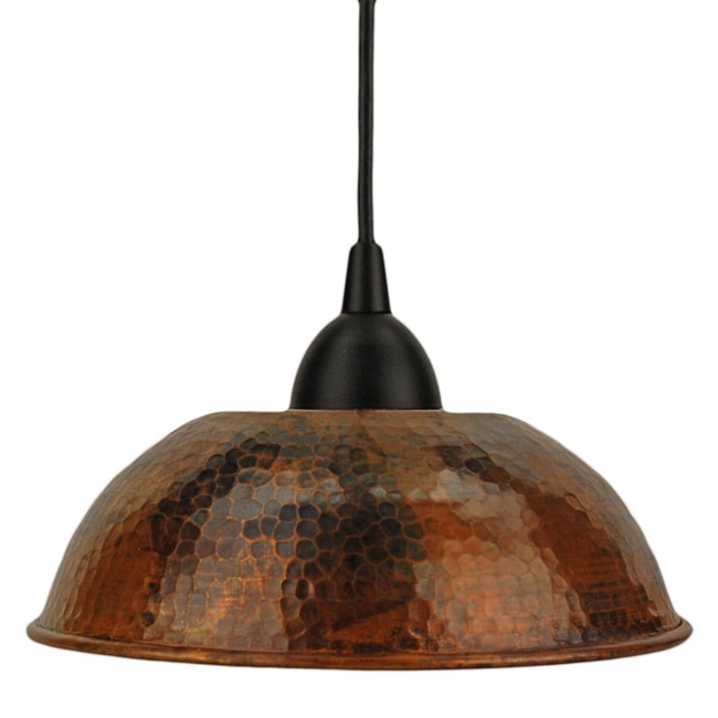 Hand Hammered Copper 8.5-Inch Dome Pendant Light (Mexico)