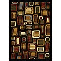 Contemporary Black Multicolored Heat-Set Rug (5'2 x 7'2)