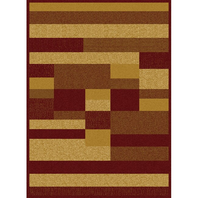 Contemporary Red/ Gold Heat Set Rug (7'8 x 10'4)