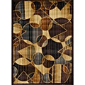 Contemporary Brown/ Blue Heat Set Rug (7'8 x 10'4)