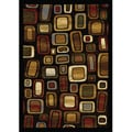 Contemporary Black/ Multicolored Heat Set Rug (7'8 x 10'4)
