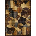 Contemporary Brown/ Blue Heat Set Rug (5'2 x 7'2)