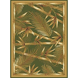 Contemporary Green Heat Set Rug (5'2 x 7'2)
