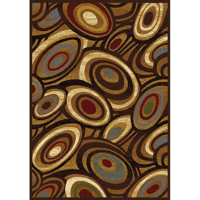 Contemporary Gold/ Multicolor Heat Set Rug (7'8 x 10'4)