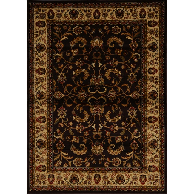 "Contemporary Brown/Black Heat-Set Rug (7'8"" x 10'4"")"