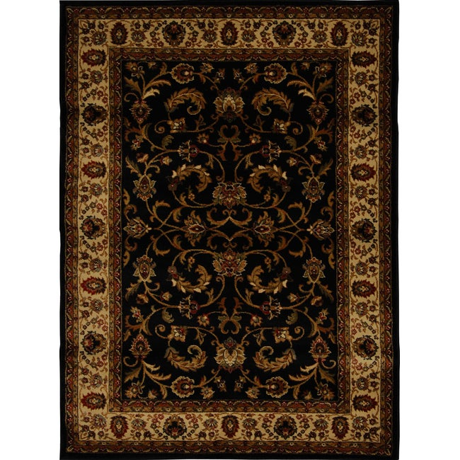 Home Dynamix Royalty Collection Black-Ivory Heat-Set Machine Made Polypropylene Area Rug (5'2 x 7'2)
