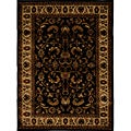 Contemporary Black-Ivory Heat-Set Rug (5'2 x 7'2)