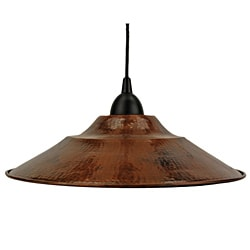 Hand-hammered Copper 13-inch Large Round Pendant Light Fixture (Mexico)