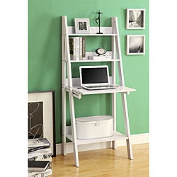 White 61-inch Ladder Bookcase Drop-down Desk