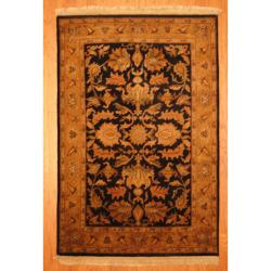 Indo Hand-knotted Mahal Black/ Gold Wool Rug (4' x 6')