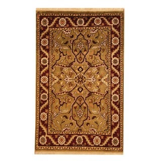 Indo Hand-knotted Mahal Olive/ Burgundy Wool Rug (3'8 x 6')