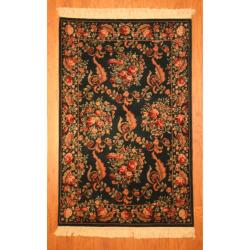 Asian Hand-knotted Aubusson Green/ Peach Wool Rug (4' x 6')