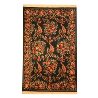 Herat Oriental Asian Hand-knotted Aubusson Green/ Peach Wool Rug (4' x 6')