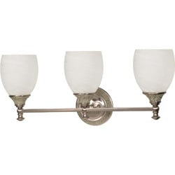 Rockport Milano Alabaster Glass Brushed Nickel 3-Light Vanity Wall Sconce