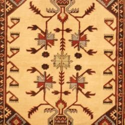 Afghan Hand-knotted Kazak Ivory/ Rust Wool Rug (4' x 6')