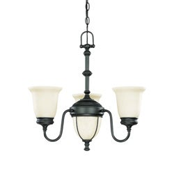 Salem 3 Light Chandelier Aged Bronze with Biscotti Glass