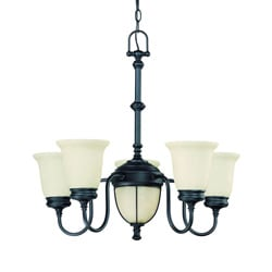 Salem 5 + 2 Aged Bronze With Biscotti Glass Light Chandelier