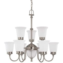 Salem 9 + 2 Light Brushed Nickel With Frosted Linen Glass Chandelier