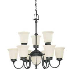Salem 7 + 2 Light Aged Bronze With Biscotti Glass Chandelier