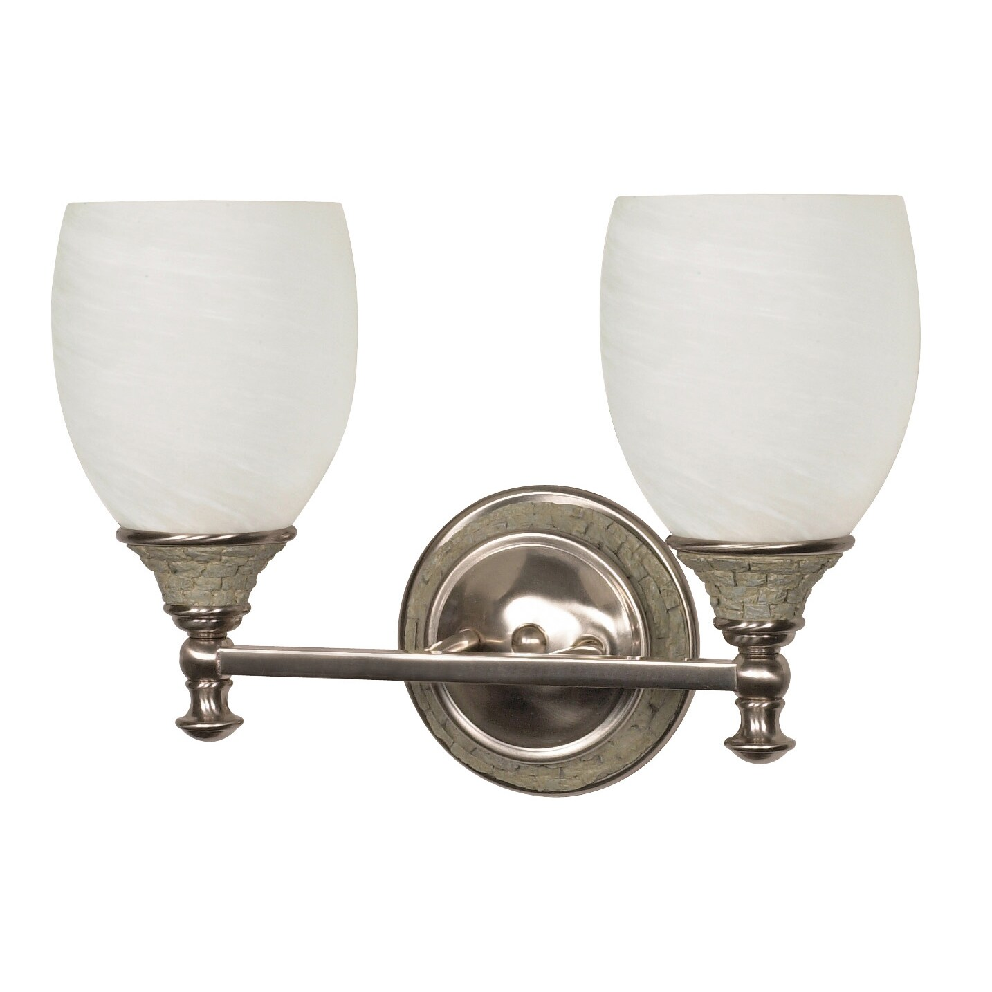 Rockport Milano 2 Light Brushed Nickel With Alabaster Swirl Glass Vanity