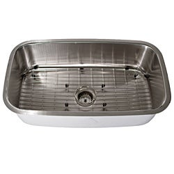 Highpoint Collection Stainless Steel Single Undermount Kitchen Sink With Bottom Grid