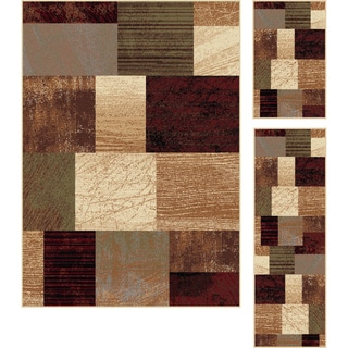 Elegance Collection Red Area Rug (Set of 3)