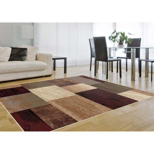 Alise Rhythm Red Area Rug (5' x 7')