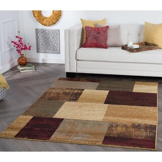 Rhythm Collection Red Area Rug (7'6 x 9'10)