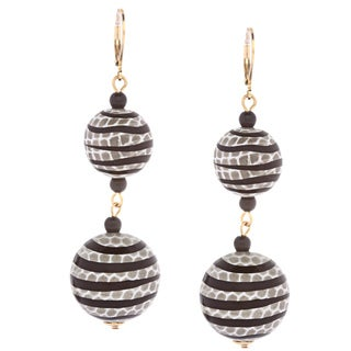 Kenneth Jay Lane Striped Dangle Earrings