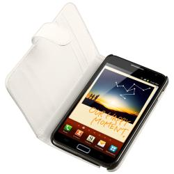 INSTEN White Leather Wallet Case Cover/ Car Charger for Samsung Galaxy Note N7000