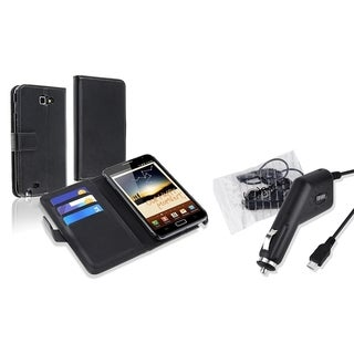 Black Leather Wallet Case/ Car Charger for Samsung Galaxy Note N7000