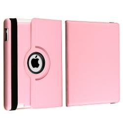 Pink 360-Degree Swivel Leather Case/ Travel Charger for Apple iPad 3