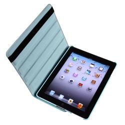 Blue Swivel Leather Case/Screen Protector/Stylus 3-Piece Set for Apple iPad 3