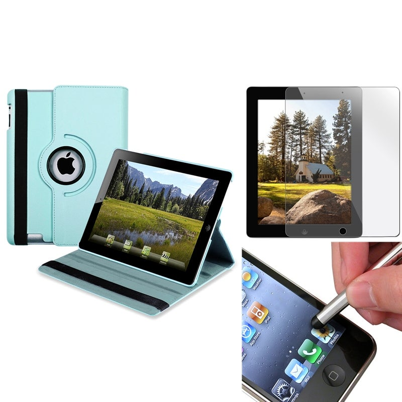 Blue Swivel Leather Case/ Screen Protector/ Stylus for Apple iPad 3